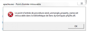 Le point d'entrée de procédure est introuvable dans ma bibliothèque de liens dynamique